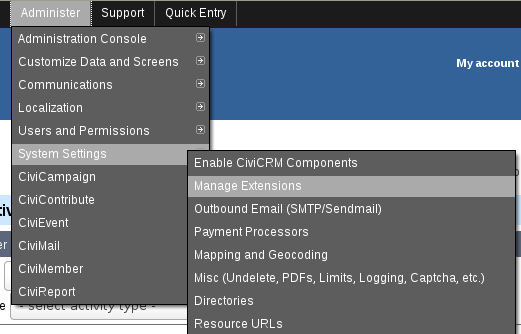 Click Manage Extensions menu